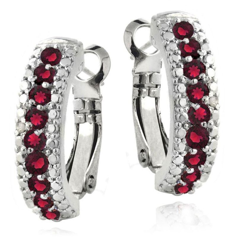 5.00 CTTW Ruby Lining Earrings Plated in 18K White Gold-Red-Daily Steals