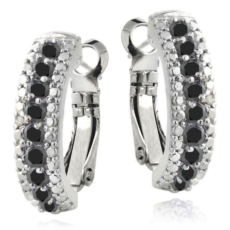 5.00 CTTW Ruby Lining Earrings Plated in 18K White Gold-Black-Daily Steals