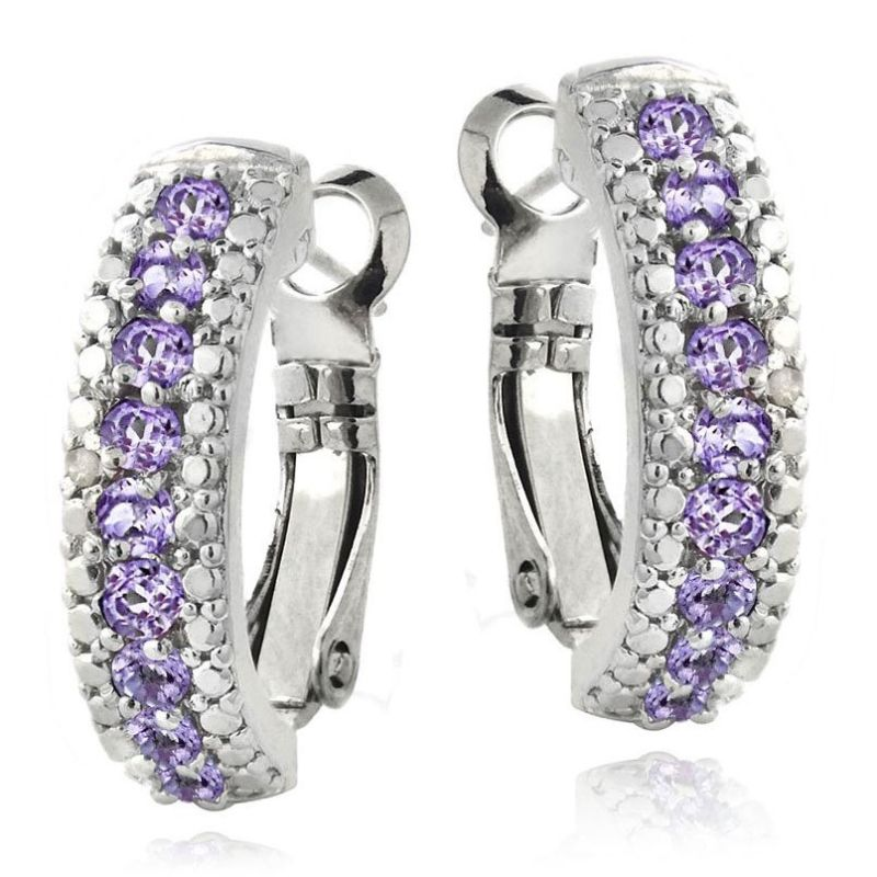 5.00 CTTW Ruby Lining Earrings Plated in 18K White Gold-Purple-Daily Steals