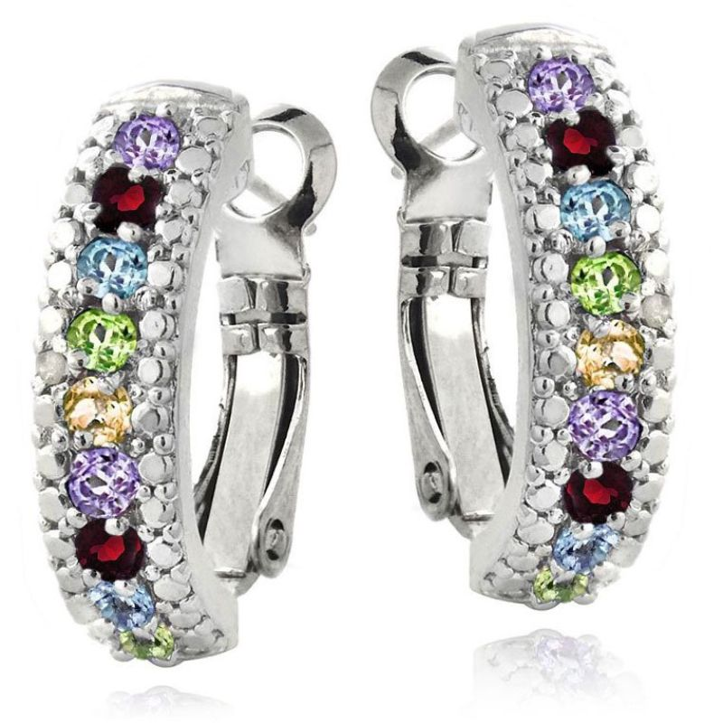 5.00 CTTW Ruby Lining Earrings Plated in 18K White Gold-Daily Steals
