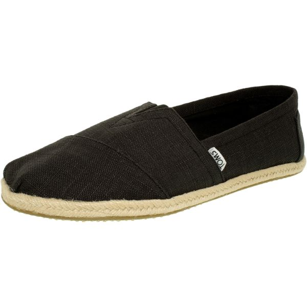 Toms Men's Alpargata Linen Black Ankle-High Fabric Flat Shoes-12-Daily Steals