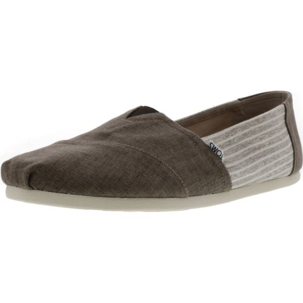 Toms Men's Classic Coated Linen Toffee Stripe Canvas Slip-On Shoes-10.5-Daily Steals