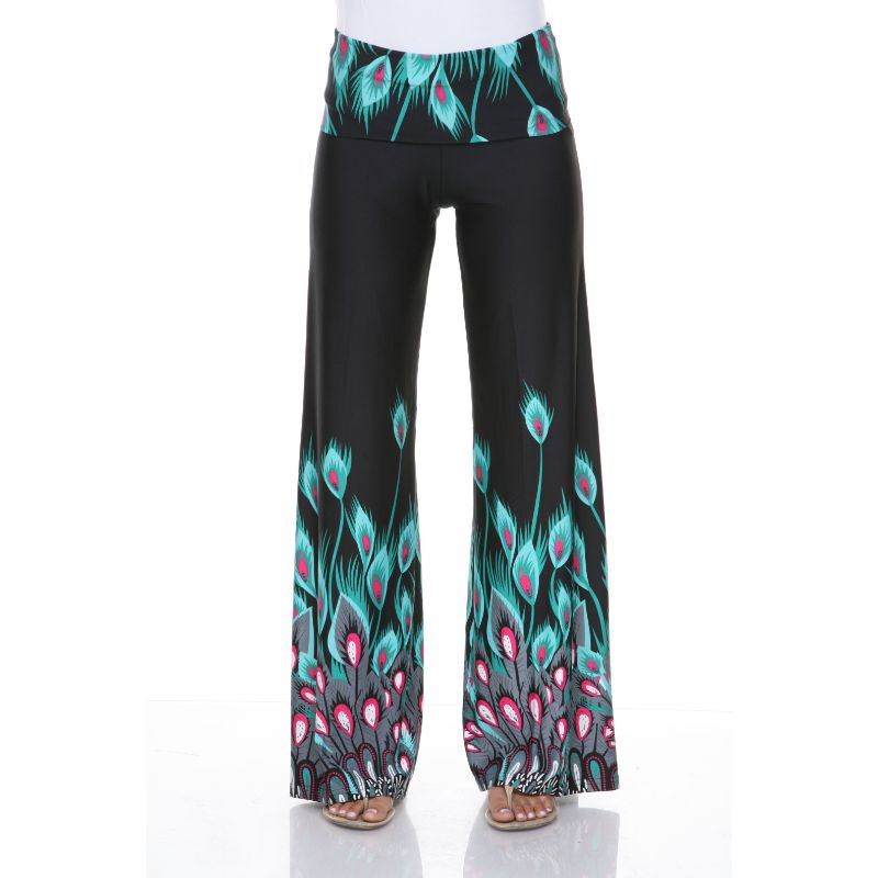 Women's Printed Palazzo Pants - Aqua Teal Peacock-S-Daily Steals