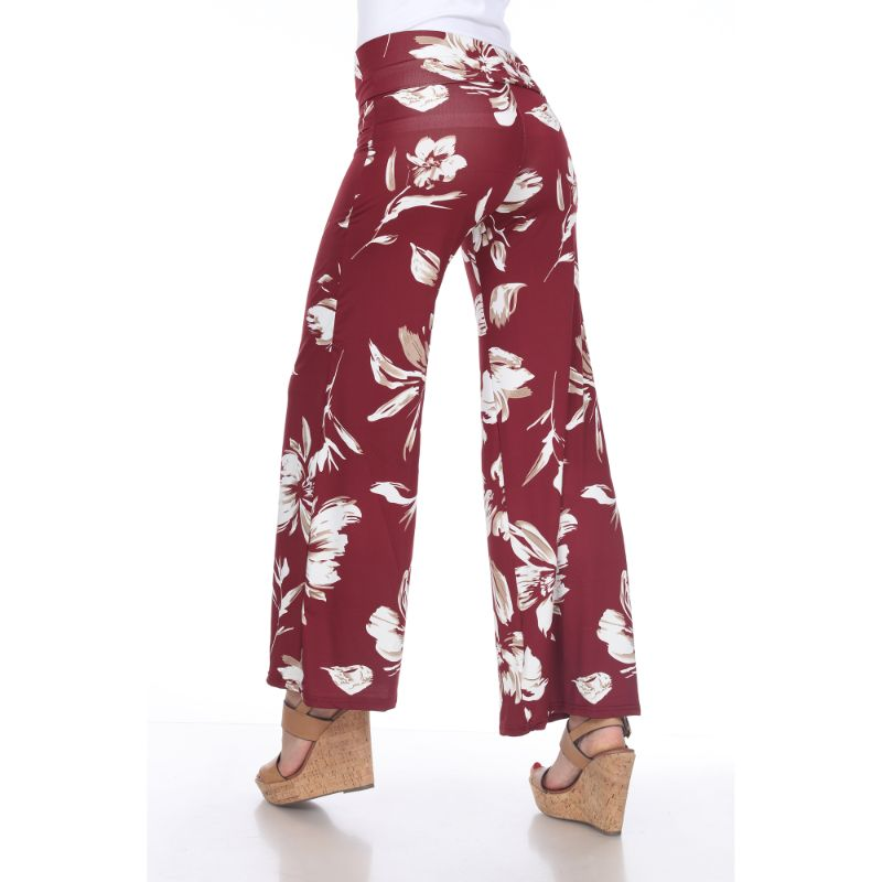 Women's Printed Palazzo Pants - Bang Red-Daily Steals