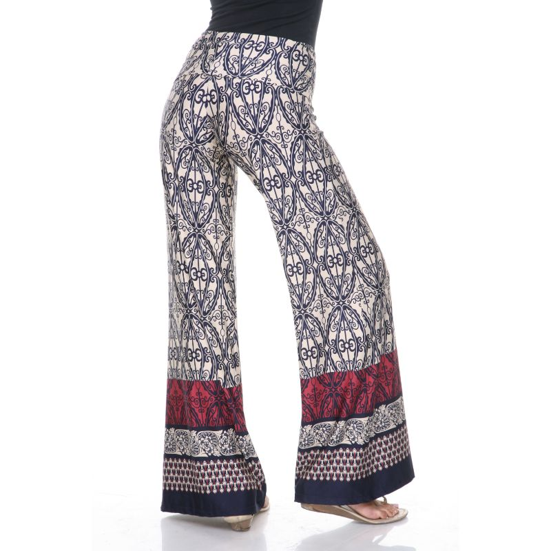 Women's Printed Palazzo Pants - Beige & Business Navy-Daily Steals