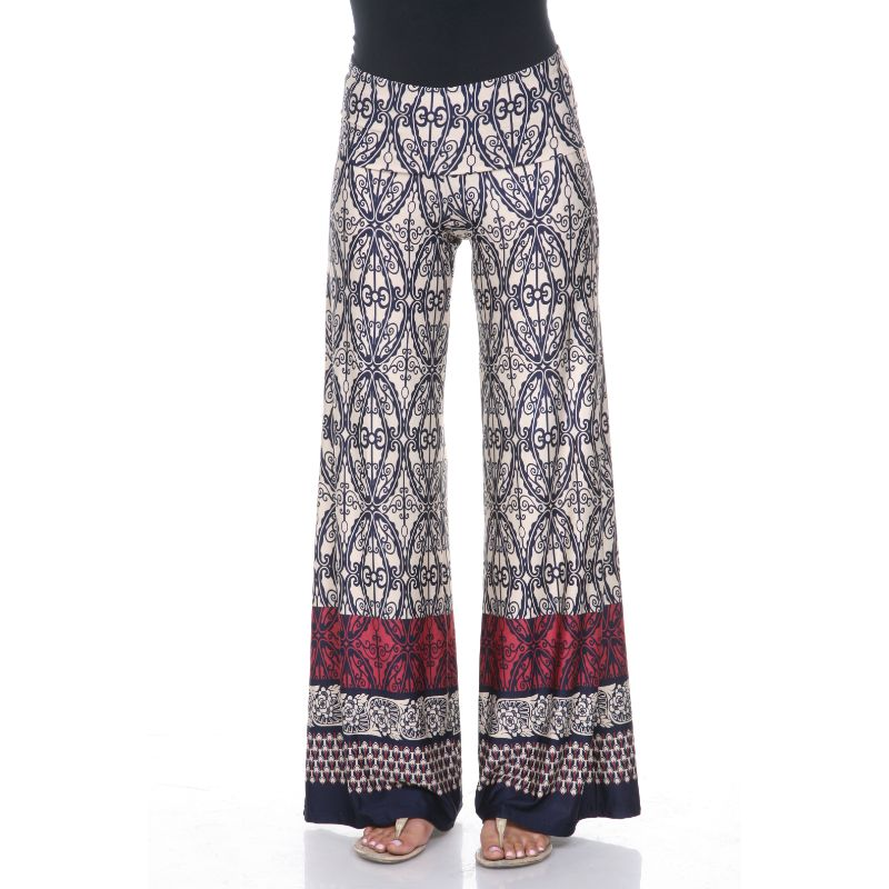 Women's Printed Palazzo Pants - Beige & Business Navy-S-Daily Steals