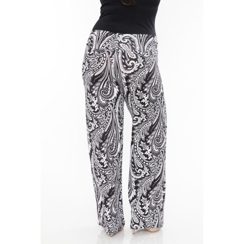 Women's Printed Palazzo Pants - Black & White Paisley-Daily Steals