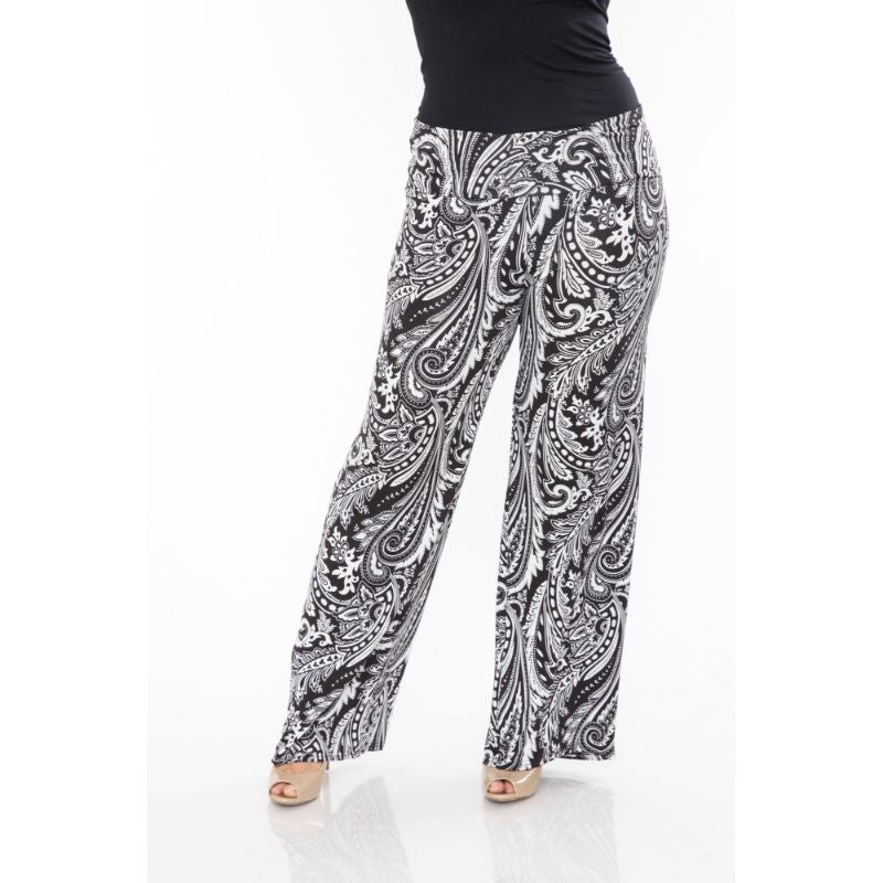 Women's Printed Palazzo Pants - Black & White Paisley-XL-Daily Steals