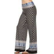 Women's Printed Palazzo Pants - Black and White-Daily Steals