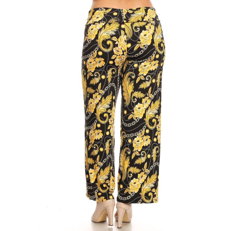 Women's Printed Palazzo Pants - Black/Gold-Daily Steals