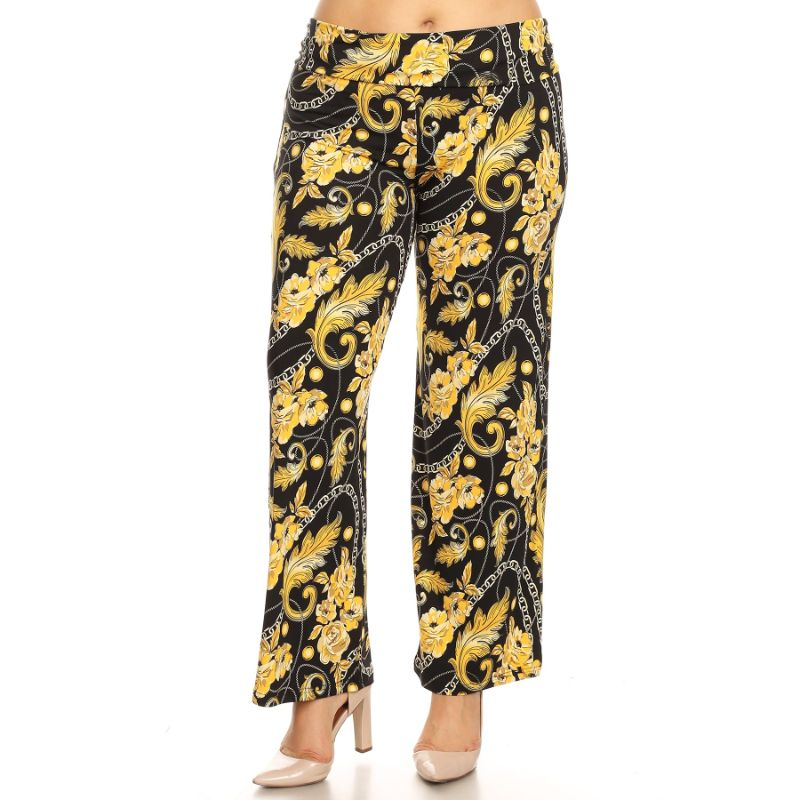 Women's Printed Palazzo Pants - Black/Gold-XL-Daily Steals