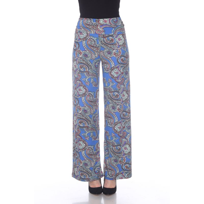 Women's Printed Palazzo Pants - Bluez Paisley-Daily Steals
