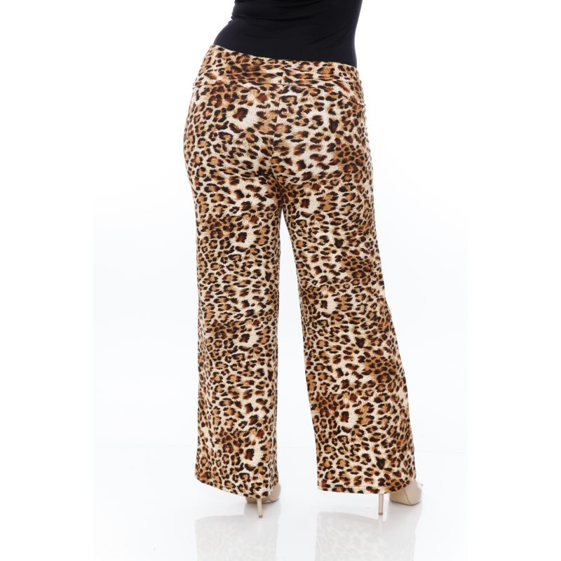 Women's Printed Palazzo Pants - Brown Cheetah-Daily Steals