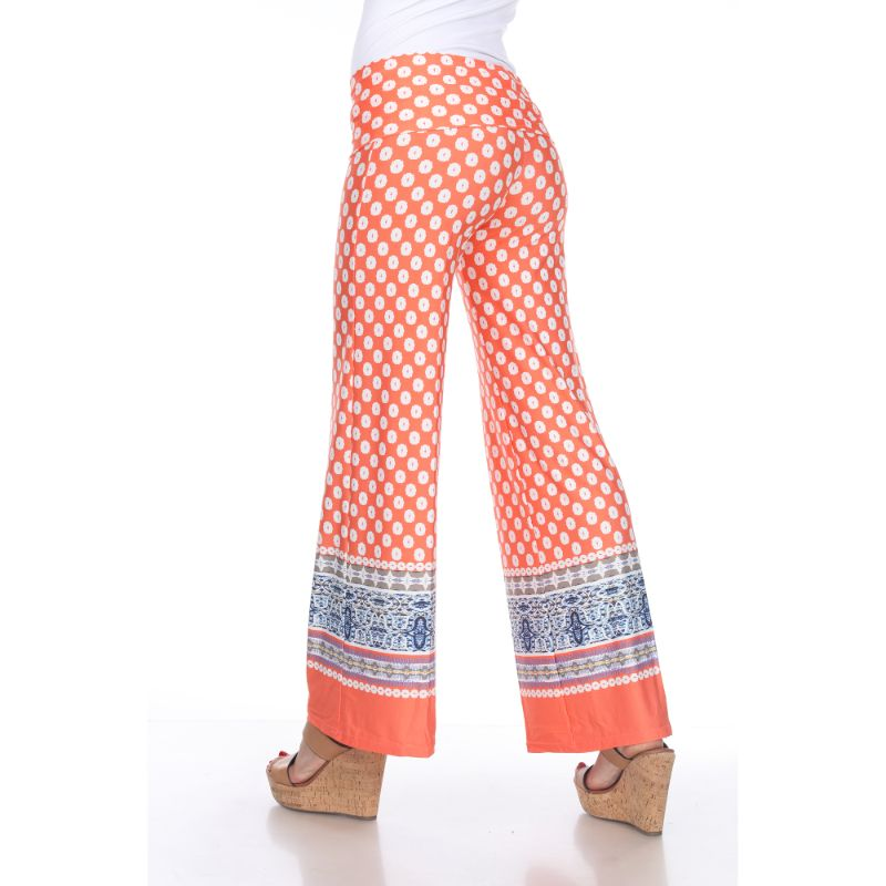Women's Printed Palazzo Pants - Citrus & White-Daily Steals