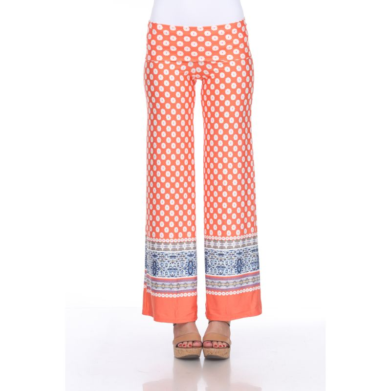 Women's Printed Palazzo Pants - Citrus & White-S-Daily Steals