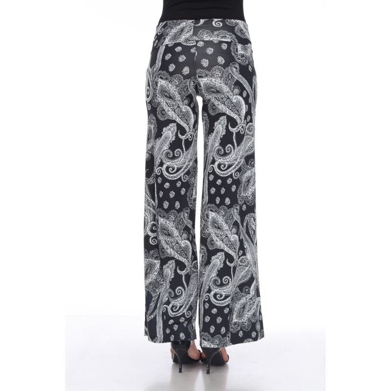 Women's Printed Palazzo Pants - Dark Black & Bright White-Daily Steals