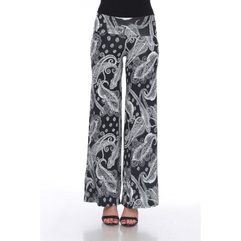 Women's Printed Palazzo Pants - Dark Black & Bright White-S-Daily Steals