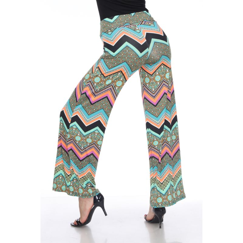 Women's Printed Palazzo Pants - Earth Green & Orange-Daily Steals
