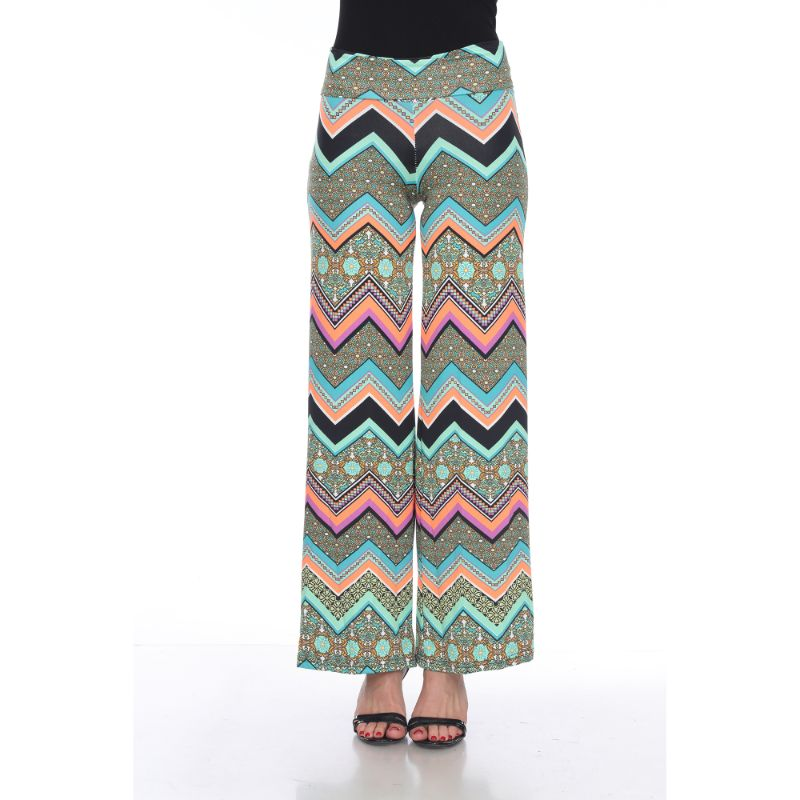 Women's Printed Palazzo Pants - Earth Green & Orange-S-Daily Steals