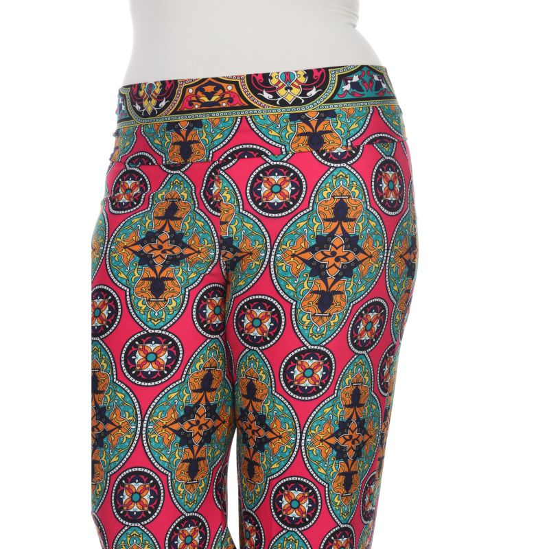 Women's Printed Palazzo Pants - Fuchsia & Green-Daily Steals