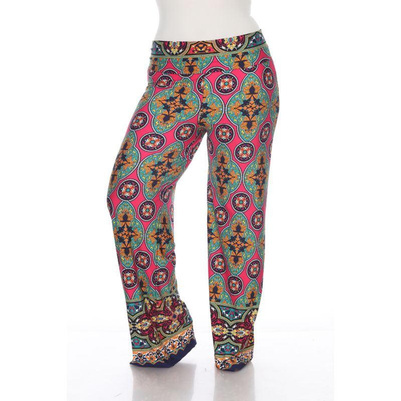 Women's Printed Palazzo Pants - Fuchsia & Green-XL-Daily Steals