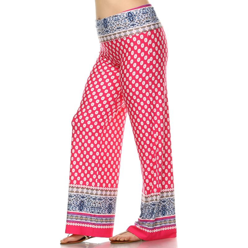 Women's Printed Palazzo Pants - Fuchsia & White-Daily Steals