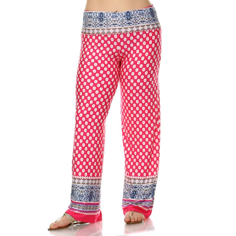 Women's Printed Palazzo Pants - Fuchsia & White-XL-Daily Steals