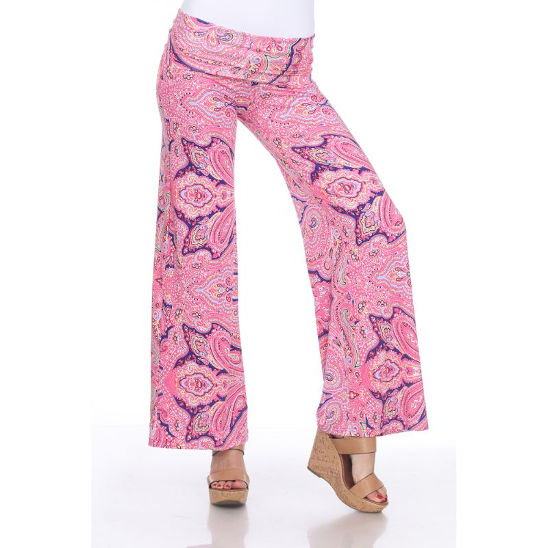 Women's Printed Palazzo Pants - Fuchsia Blue Paisley-S-Daily Steals