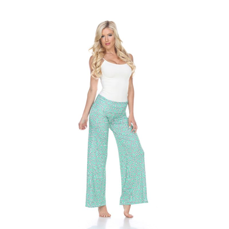 Women's Printed Palazzo Pants - Grassy Green-Daily Steals