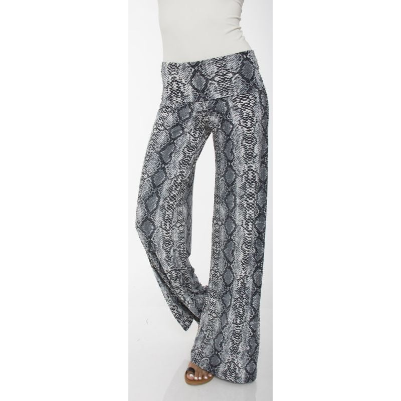 Women's Printed Palazzo Pants - Gray Snake-S-Daily Steals