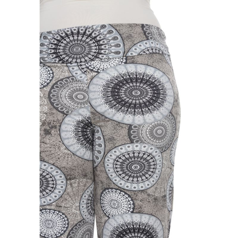Women's Printed Palazzo Pants - Grey Geo-Daily Steals
