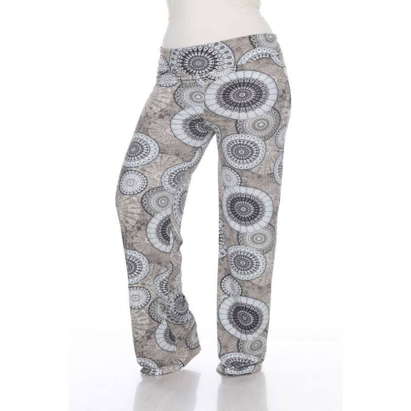 Women's Printed Palazzo Pants - Grey Geo-3XL-Daily Steals