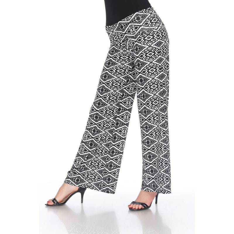 Women's Printed Palazzo Pants - Licorice Black & White-Daily Steals