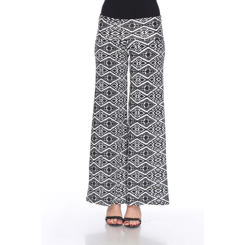 Women's Printed Palazzo Pants - Licorice Black & White-S-Daily Steals