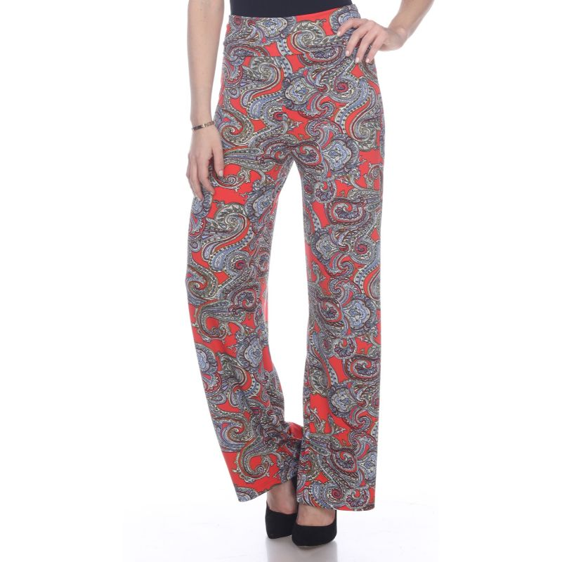Women's Printed Palazzo Pants - Lovely Red Paisley-Daily Steals