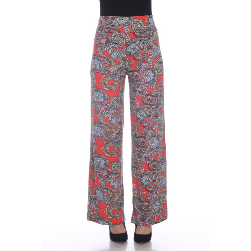 Women's Printed Palazzo Pants - Lovely Red Paisley-L-Daily Steals