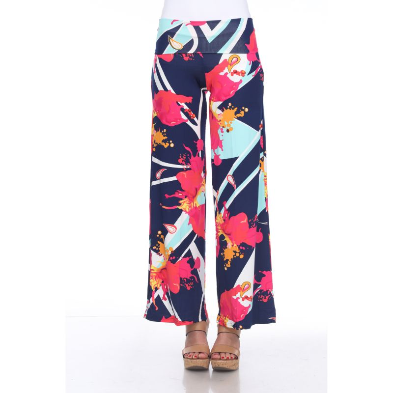 Women's Printed Palazzo Pants - Mermaid Teal & Pink-S-Daily Steals