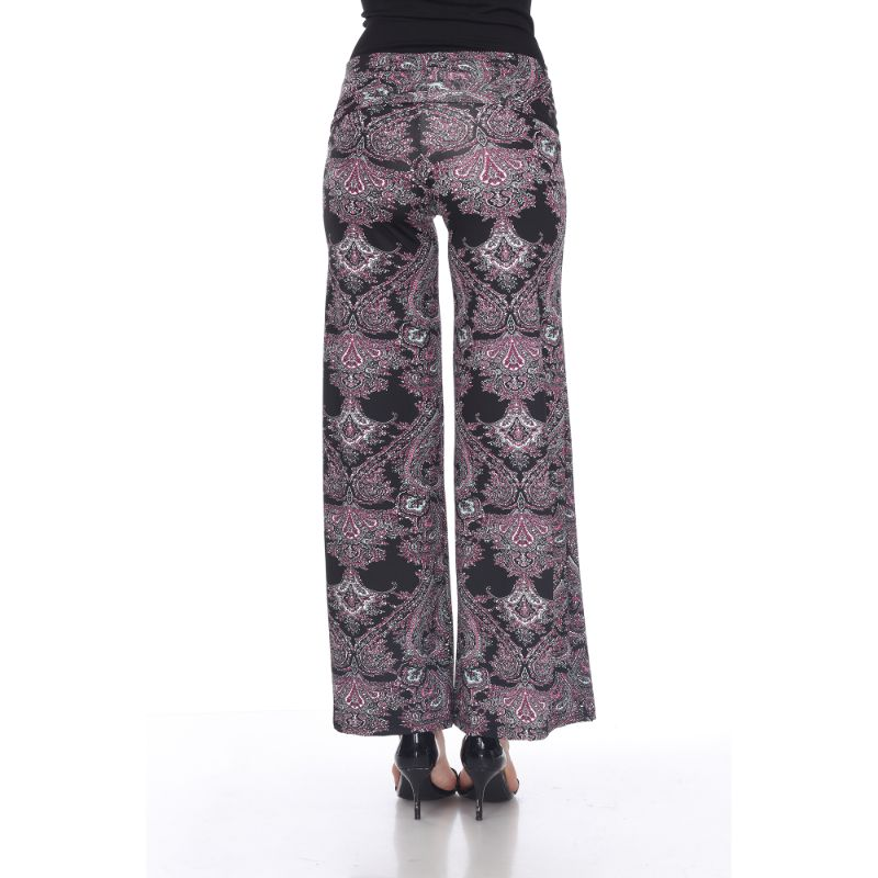 Women's Printed Palazzo Pants - Midnight Black & Fuchsia-Daily Steals