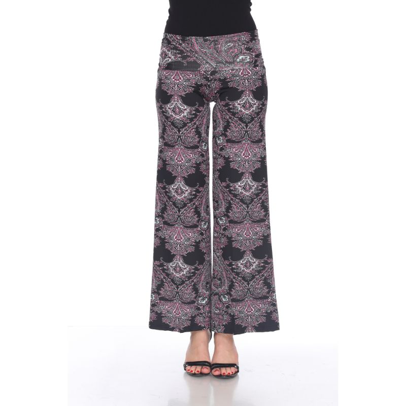 Women's Printed Palazzo Pants - Midnight Black & Fuchsia-S-Daily Steals