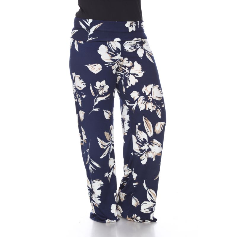 Women's Printed Palazzo Pants - My Navy Blue-Daily Steals