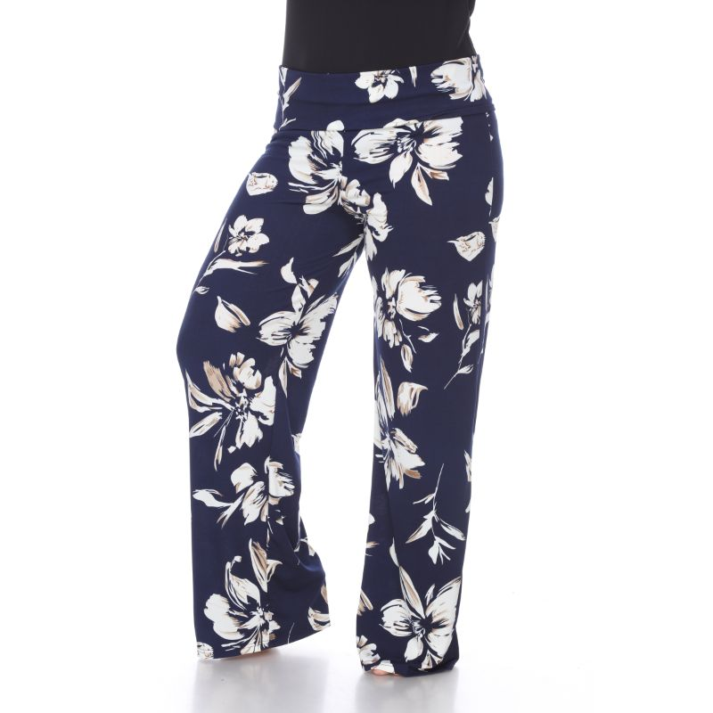 Women's Printed Palazzo Pants - My Navy Blue-XL-Daily Steals
