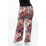 Women's Printed Palazzo Pants - Navy/Orange/White-Daily Steals