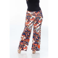Women's Printed Palazzo Pants - Navy/Orange/White-XL-Daily Steals