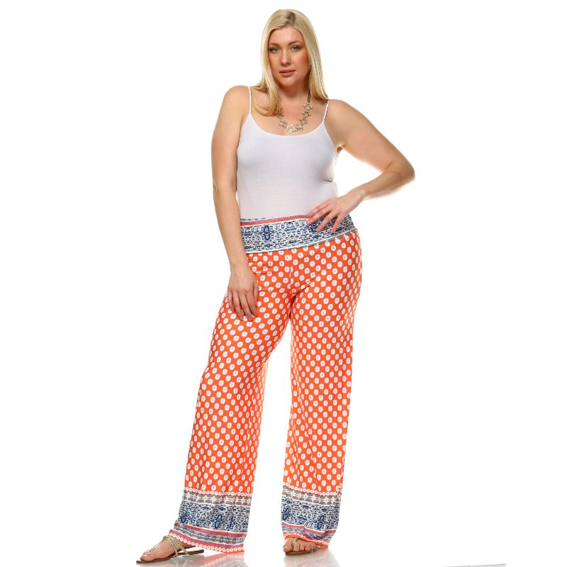 Women's Printed Palazzo Pants - Orange & White-Daily Steals