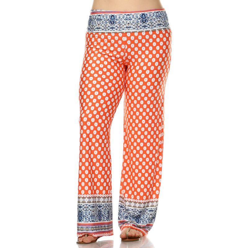 Women's Printed Palazzo Pants - Orange & White-XL-Daily Steals