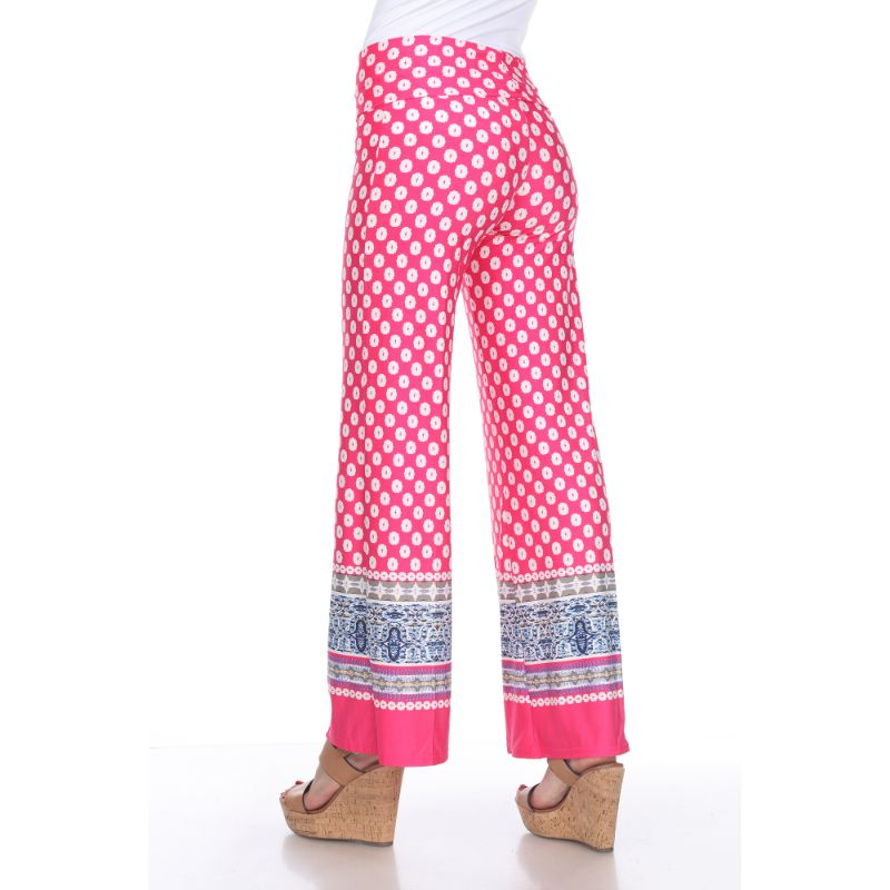 Women's Printed Palazzo Pants - Pop of Fuchsia & White-Daily Steals