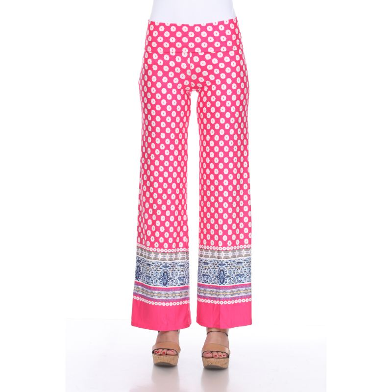 Women's Printed Palazzo Pants - Pop of Fuchsia & White-S-Daily Steals