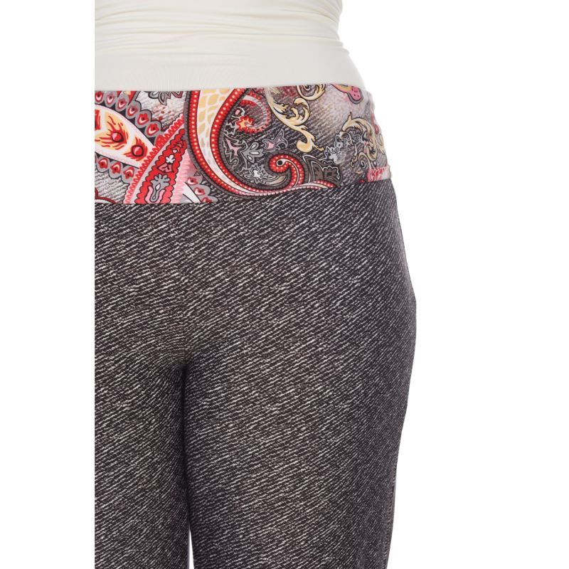 Women's Printed Palazzo Pants - Red - Grey-Daily Steals