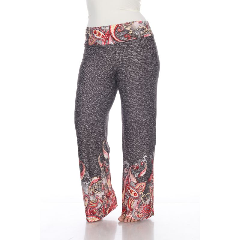 Women's Printed Palazzo Pants - Red - Grey-XL-Daily Steals