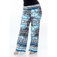 Women's Printed Palazzo Pants - Sky Blue Cheetah-Daily Steals